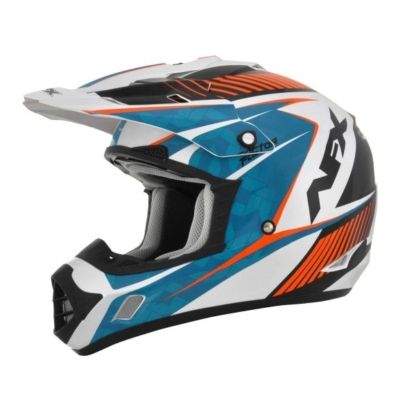 Motokros čelada AFX FX-17 Factor Complex Pearl White Light Blue Safety Orange
