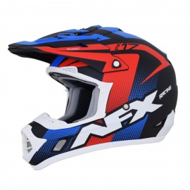 Motokros čelada AFX FX-17 Factor Complex Holeshot Matte Black Red White Blue