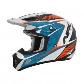 Otroška motokros čelada AFX FX-17YE Factor Complex Pearl White / Light Blue / Orange