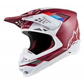 Motokros čelada ALPINESTARS S-M8 Contact Dark Red White