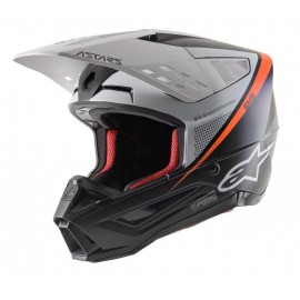 Motokros čelada ALPINESTARS S-M5 Rayon Gray Black White Fluo Orange mat