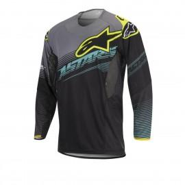 Moški motokros dres ALPINESTARS Techstar Factory Black Teal Yellow Fluo