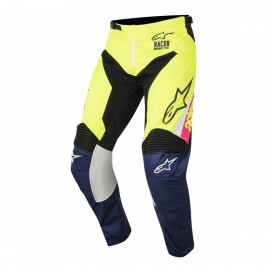 Otroške motokros hlače ALPINESTARS Racer Supermatic S8Y White Dark Blue Yellow Fluo