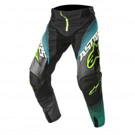 Moške motokros hlače ALPINESTARS Techstar Factory Black/Teal/Yellow Fluo