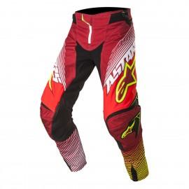 Moške motokros hlače ALPINESTARS Techstar Factory Red/White/Yellow Fluo