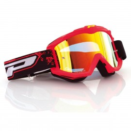 Motokros očala PRO GRIP 3204 OTG Fluo Mat Red Yellow Mirrored (primerne za očala)