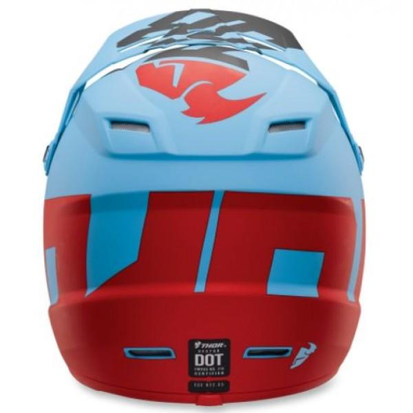 Otroška motokros čelada THOR Sector Level Powder Blue Red (mat)