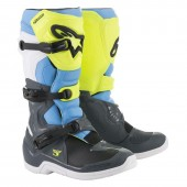 Motokros škornji Alpinestars Tech 3 Cool Gray Fluo Yellow Cyan