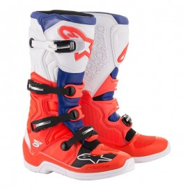 Motokros škornji Alpinestars Tech 5 Fluo Red Blue White