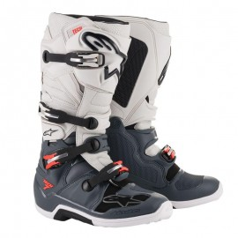 Motokros škornji Alpinestars Tech 7 Dark Gray Light Gray Fluo Red
