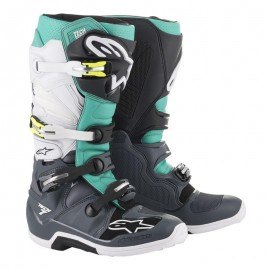 Motokros škornji Alpinestars Tech 7 Dark Gray Teal White