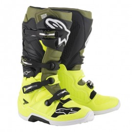 Motokros škornji Alpinestars Tech 7 Fluo Yellow Military Green Black