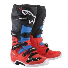 Motokros škornji Alpinestars Tech 7 Red Fluo Cyan Gray Black
