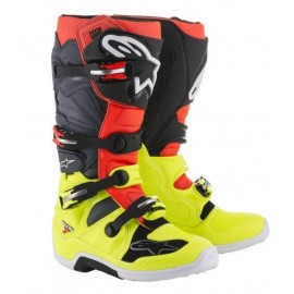 Motokros škornji Alpinestars Tech 7 Yellow Fluo Red Fluo Gray Black