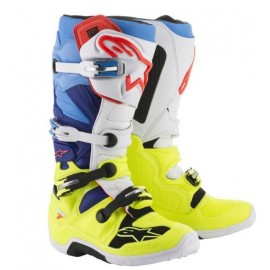 Motokros škornji Alpinestars Tech 7 Yellow Fluo White Blue Cyan